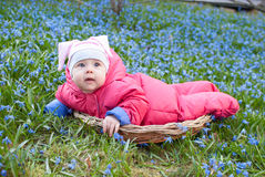 Infant girl in a handmade basket Stock Photography