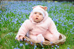 Infant girl in snowdrops field Royalty Free Stock Photos