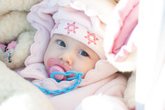 Infant girl on a winter walk royalty free stock photos