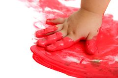 Infant hand painting red mosaic. Stock Image