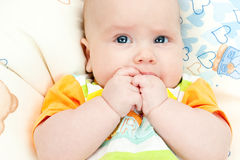 Infant with hands in mouth Royalty Free Stock Image