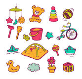 Infant Icon set. Set of hand-drawn icons baby toys and accessories Stock Images