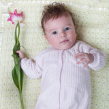 Infant must with flowers Stock Image