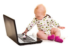Infant with a notebook Stock Image