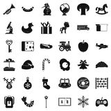Infant playground icons set, simple style. Infant playground icons set. Simple set of 36 infant playground vector icons for web isolated on white background Royalty Free Stock Images