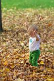 Infant Playing In Fall Leaves Stock Photo