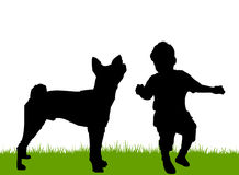 Infant playing with family dog Royalty Free Stock Photo