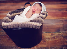 Infant posed sleeping Stock Photo