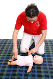 Infant pulse check demonstration royalty free stock image