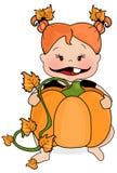 Infant Pumpkin. Illustration of infant holding a pumpkin royalty free illustration
