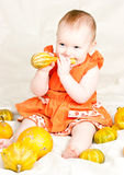 Infant with pumpkin Royalty Free Stock Images