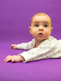 Infant on a purple background. Royalty Free Stock Photography
