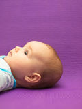 Infant on a purple background. Stock Image