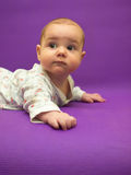 Infant on a purple background. Royalty Free Stock Photos