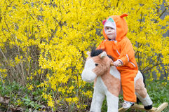 Infant ridding horse. Infant ridding toy cottony horse rocking on spring bush Stock Images