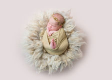 Infant sleeping swaddled with rabbit toy, topview. Adorable infant girl sleeping swaddled with her tiny brown toy of a rabbit, topview stock photo