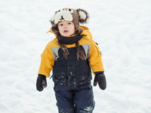 Infant in the snow Royalty Free Stock Photo