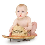 Infant with straw cowboy hat Royalty Free Stock Images