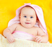Infant in towel Royalty Free Stock Photo