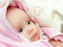 Infant in towel Royalty Free Stock Photos