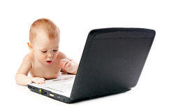 Infant using laptop Stock Image