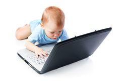 Infant using laptop Stock Photos