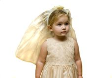 Infant with veil on head Royalty Free Stock Photography