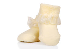 Infant Yellow Baby shoes Stock Image