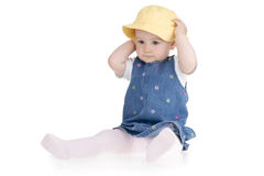 Infant yellow hat Royalty Free Stock Image
