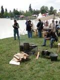 Infantaria da união no acampamento antes da batalha Fotos de Stock