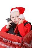 Infante na caixa de Natal #3 Fotografia de Stock