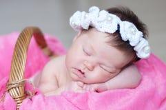 Infante que dorme na cesta com acessório - faixa principal, bebê que encontra-se na cobertura cor-de-rosa, criança bonito, recém- imagem de stock