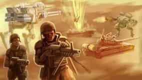 Infanteri av framtiden på slagfältet vektor illustrationer