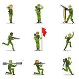 Infanteri tjäna som soldat den oavkortade militära kaki- likformign med vapen under krigoperationsamling av tecknad filmlandstyrk royaltyfri illustrationer