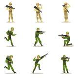 Infanteri tjäna som soldat den oavkortade militära kaki- likformign med vapen under krigoperationuppsättning av tecknade filmen f stock illustrationer