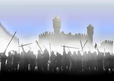 Infanterie in de mist royalty-vrije illustratie