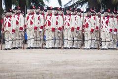 16. Infanterie-Regiment-Kastilien-Zeitraum gekleidet Stockbilder