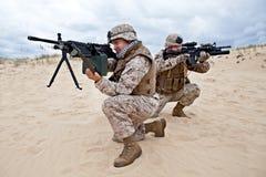 Infantes de marina de los E.E.U.U. en la acción Fotos de archivo