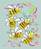 Infantile bee. Bee scene flying gracefully entangled in decorating tapes Stock Photography