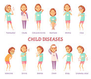 Infantile Diseases Symptoms Set. Isolated characters set with cartoon girl anxious for different child disease symptoms with appropriate text captions vector Royalty Free Stock Image