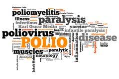 Infantile paralysis. Polio - Poliomyelitis or infantile paralysis viral sickness. Health care word cloud Stock Image