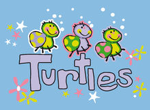 Infantile turtles. Natural composition of some pretty turtles Stock Images