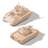 Infantry combat vehicle with dynamic protection and anti-tank guided missile system isometric icon set Royalty Free Stock Images