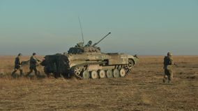 Infantry fighting vehicle on the batlefield. Military armored vehicles training stock video