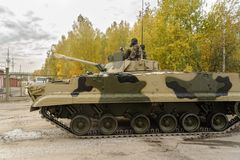 Infantry fighting vehicle BMP-3M in motion. Nizhniy Tagil, Russia - September 25. 2013: Infantry fighting vehicle BMP-3M in motion. Russia Arms Expo-2013 Royalty Free Stock Photo