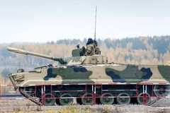 Infantry fighting vehicle BMP-3M in motion. Nizhniy Tagil, Russia - September 27. 2013: Infantry fighting vehicle BMP-3M in motion. Russia Arms Expo-2013 Royalty Free Stock Photos