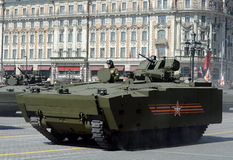 Infantry fighting vehicle BMP on medium tracked platform kurganets-25. MOSCOW, RUSSIA - MAY 07, 2015:Infantry fighting vehicle BMP on medium tracked platform Royalty Free Stock Images