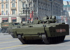 Infantry fighting vehicle BMP on medium tracked platform kurganets-25 for the parade rehearsal in Moscow. Stock Images