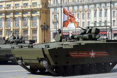 Infantry fighting vehicle BMP on medium tracked platform kurganets-25 for the parade rehearsal in Moscow. Stock Photo
