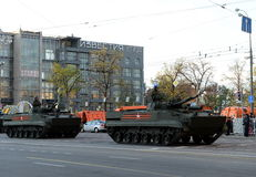 Infantry fighting vehicle BMP-3. MOSCOW, RUSSIA - MAY 05, 2016:Military equipment on Tverskaya street prepares to travel to the Red Square. Infantry fighting Stock Photos